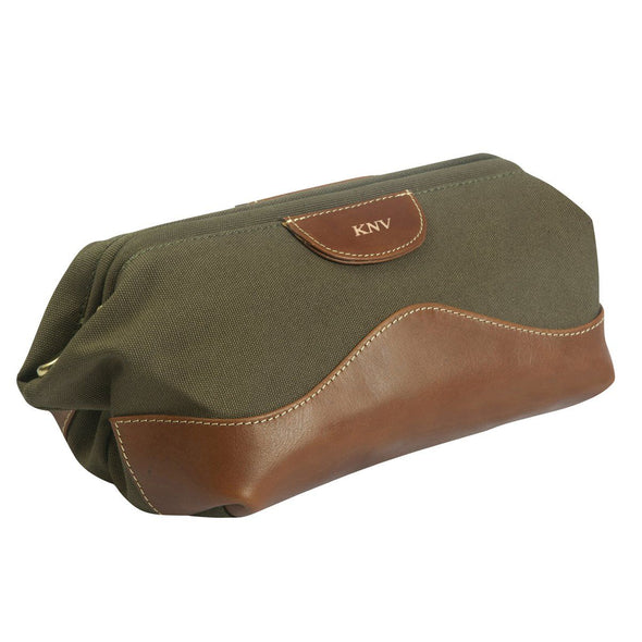 Personalized Forest Green Borello Canvas & Leather Travel Bag for Groomsmen-Travel Gifts-JDS-Gold-