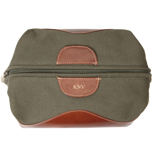 Personalized Forest Green Borello Canvas & Leather Travel Bag for Groomsmen-Travel Gifts-JDS-