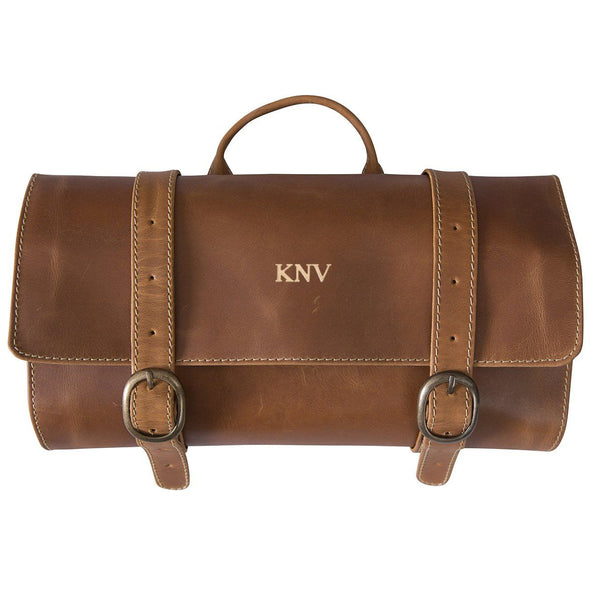 Personalized Distressed Tan Leather Hanging Travel Travel Bag-Gold-