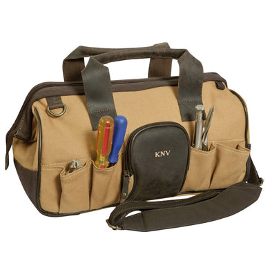 Personalized Borello Leather & Canvas Tool Bag-