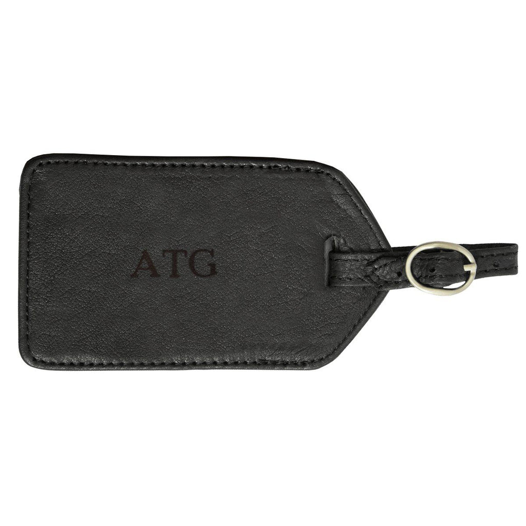 Personalized Black Leather Luggage Tag