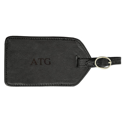 Personalized Black Leather Luggage Tag-Blind-