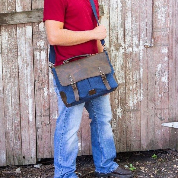 Personalized Blue Borello Leather & Canvas Messenger Bag-