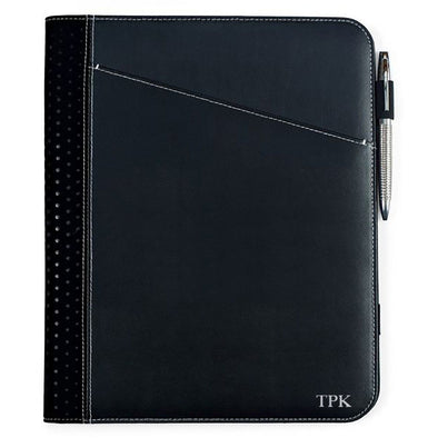 Personalized Borello Cedar Black Leather Writing Pad for Groomsmen-Silver-