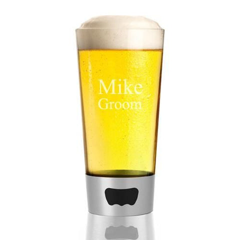 Personalized Pint Glass - Built in Bottle Opener - Silver - 16 oz.-Groomsmen Gifts