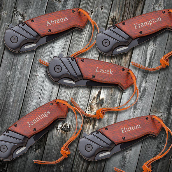 Groomsmen Set of 5 Saw Mountain Personalized Pocket Knife - Wood Handle - Spring Assisted