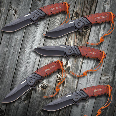 Groomsmen Set of 5 Saw Mountain Personalized Hunting Knives