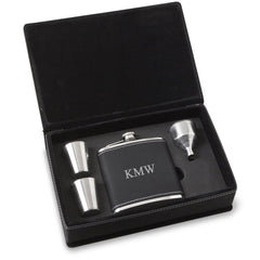 Personalized 6 oz BlackSilver Flask Gift Set for Groomsmen-3Initials-