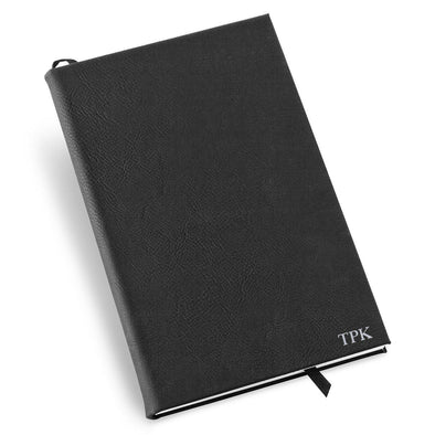 Personalized Groomsmen Black Faux Leather Journal-Silver-
