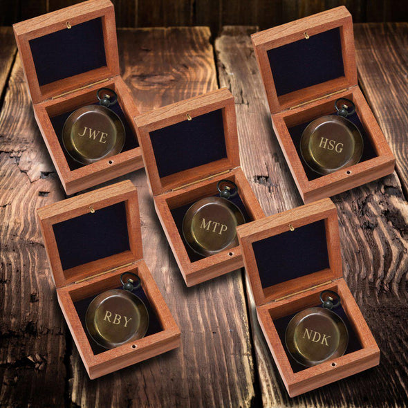 Personalized Antiqued Keepsake Compass with Wooden Box Set of 5-Outdoors-JDS-3Initials-