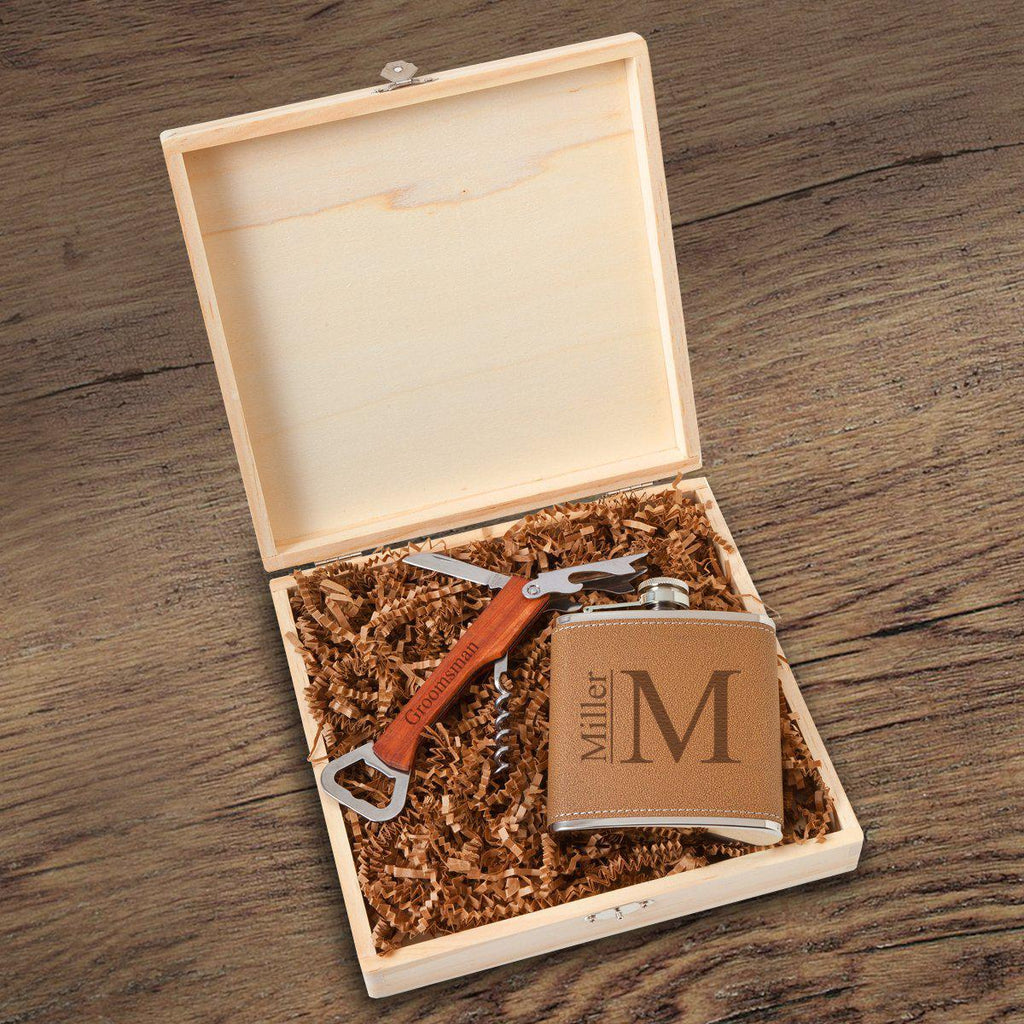 Personalized Groomsmen Flask Box And Gift Set