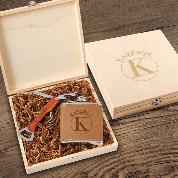 Personalized Groomsmen Flask - Groomsmen Gift Box Set-Circle-