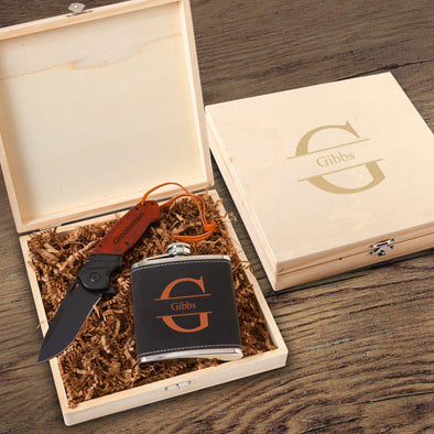 Stirling Groomsmen Flask Gift Box Set-Choose Design-