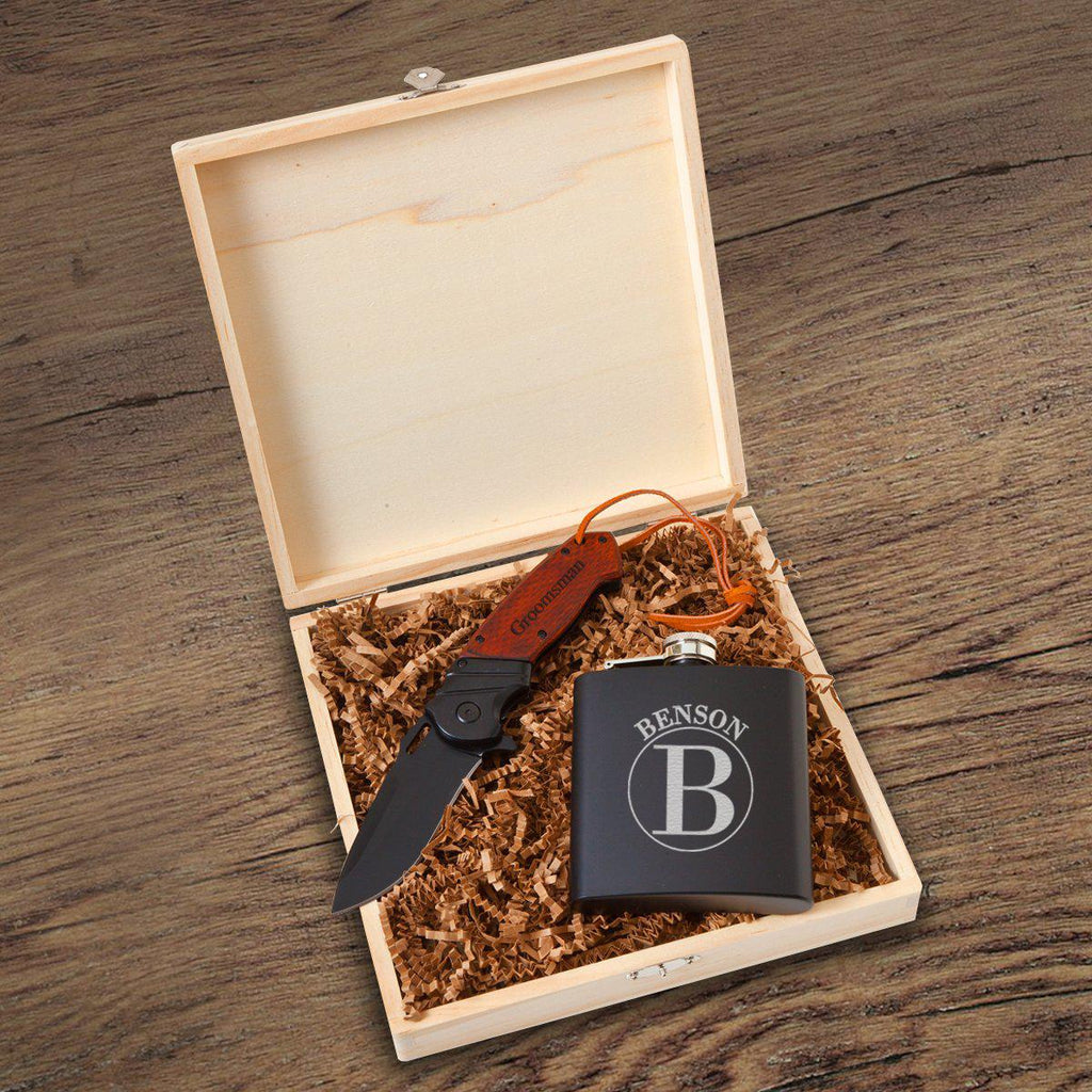 Larkhall Groomsmen Flask Gift Box Set