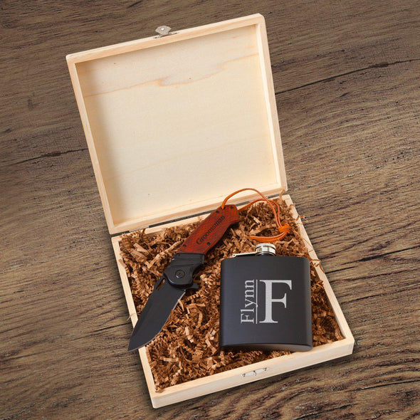 Larkhall Groomsmen Flask Gift Box Set-Modern-