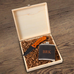 Kinross Groomsmen Flask Gift Box Set-3 Initials-