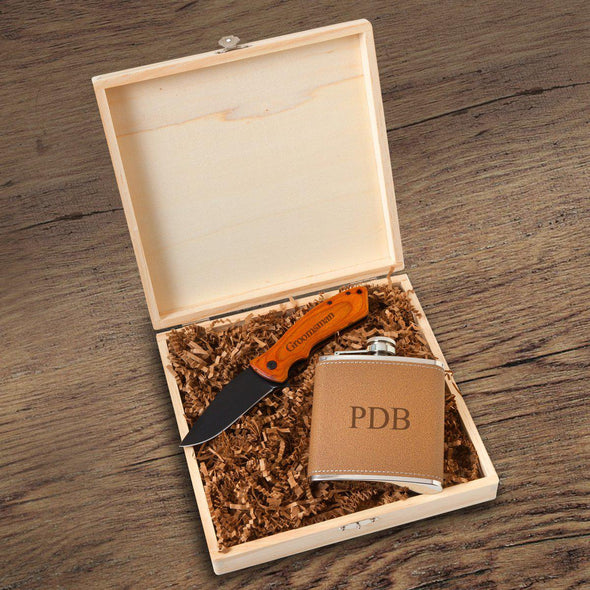 Hamilton Groomsmen Flask Gift Box Set-3 Initials-