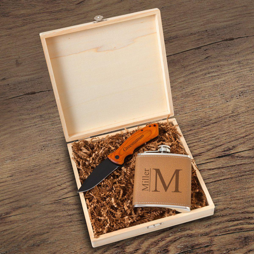 Hamilton Groomsmen Flask Gift Box Set