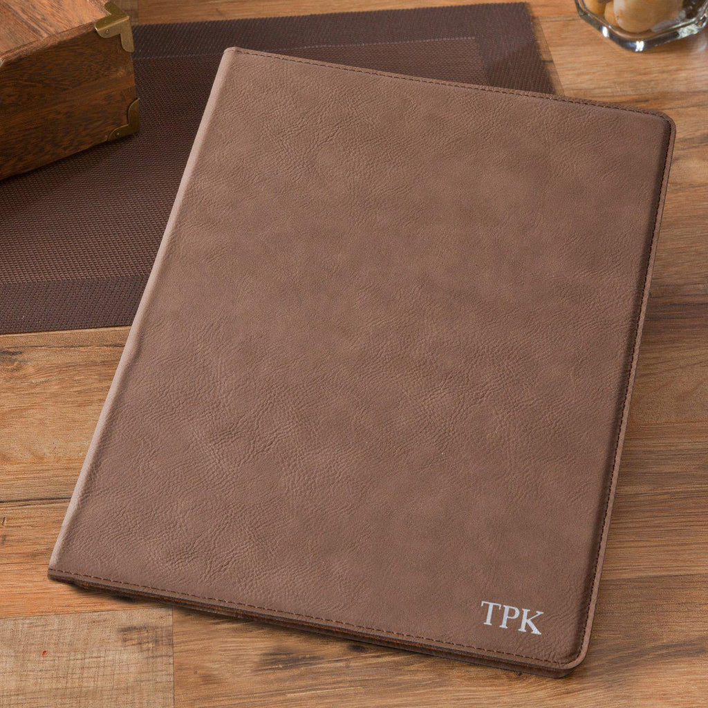 Personalized Mocha Portfolio with Notepad for Groomsmen