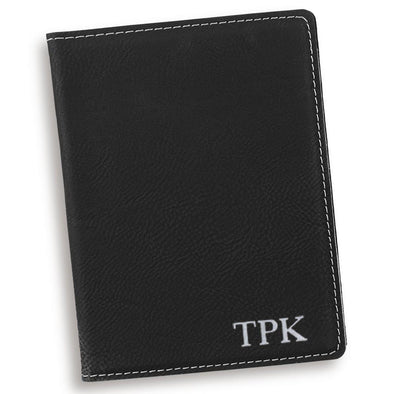 Black Personalized Passport Holder-Silver-