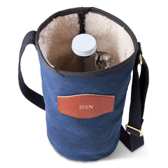 Personalized Growler Carrier – Waxed Canvas – Blue-Groomsmen Gifts