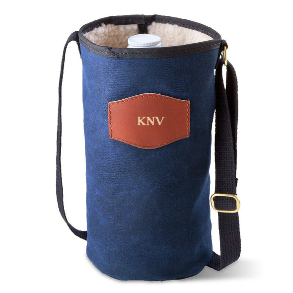 Personalized Growler Carrier – Waxed Canvas – Blue-Gold-
