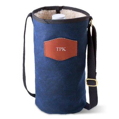 Personalized Growler Carrier – Waxed Canvas – Blue-Silver-