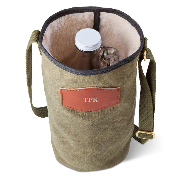 Personalized Growler Carrier – Waxed Canvas – Field Tan-