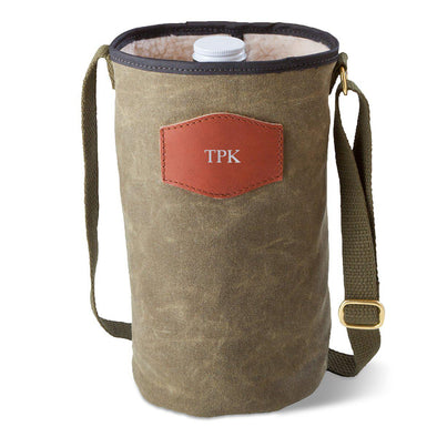 Personalized Growler Carrier – Waxed Canvas – Field Tan-Silver-