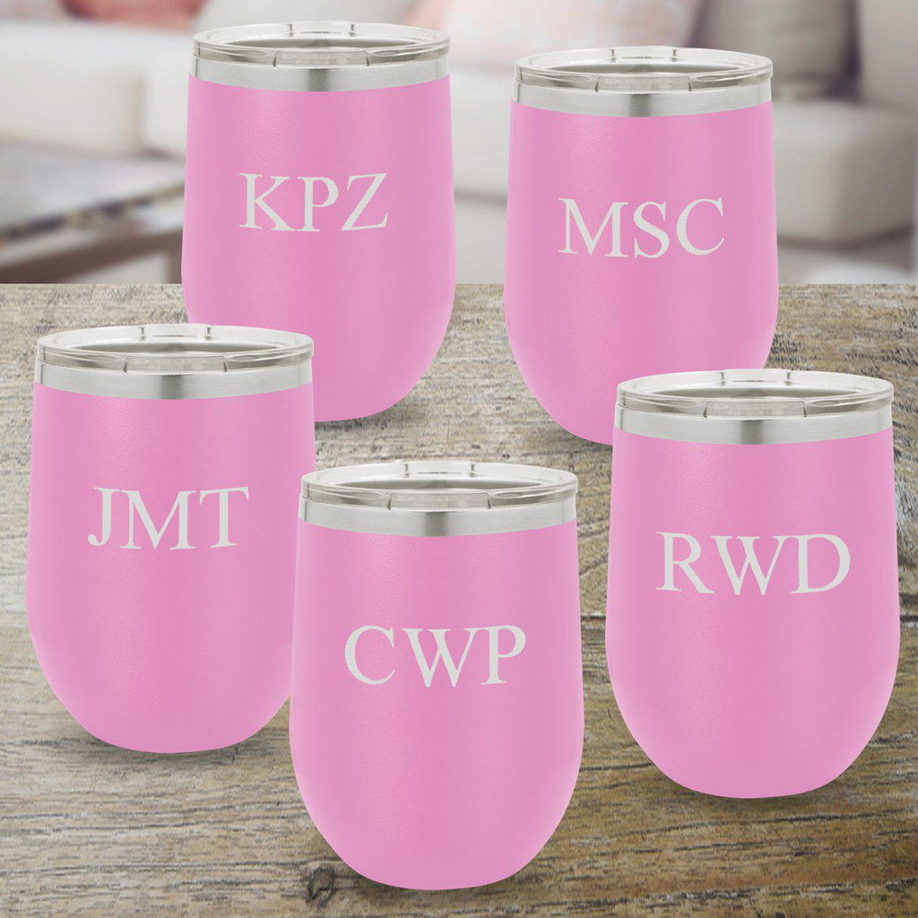 Personalized Bridesmaid Set of 5 Wine Tumblers 12 oz. - Light Purple