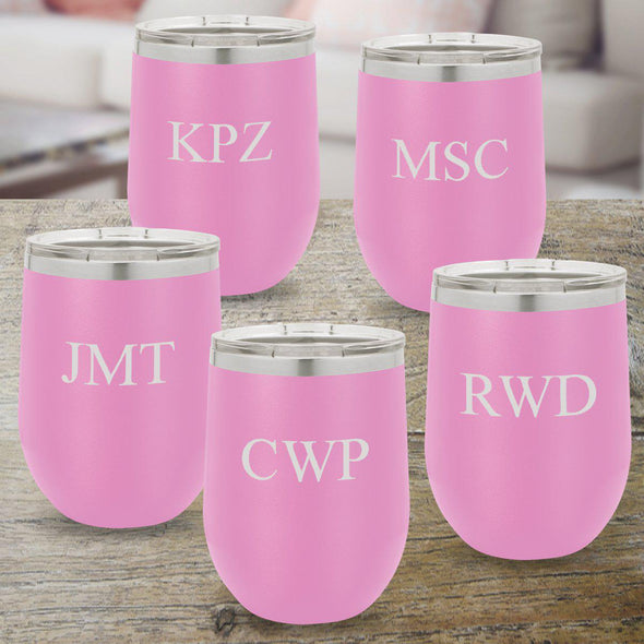 Personalized Bridesmaid Set of 5 Wine Tumblers 12 oz. - Light Purple-Barware-JDS-Choose Design-