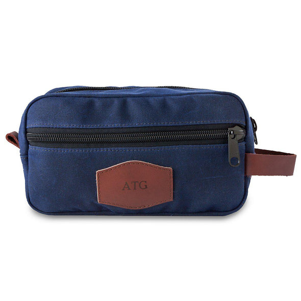 Men's Personalized Waxed Canvas Travel Bag – Blue-Blind-