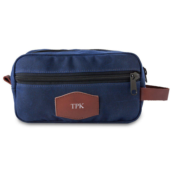 Men's Personalized Waxed Canvas Travel Bag – Blue-Silver-