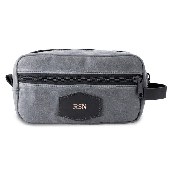 Men's Travel Bag for Groomsmen – Waxed Canvas - Charcoal-RoseGold-