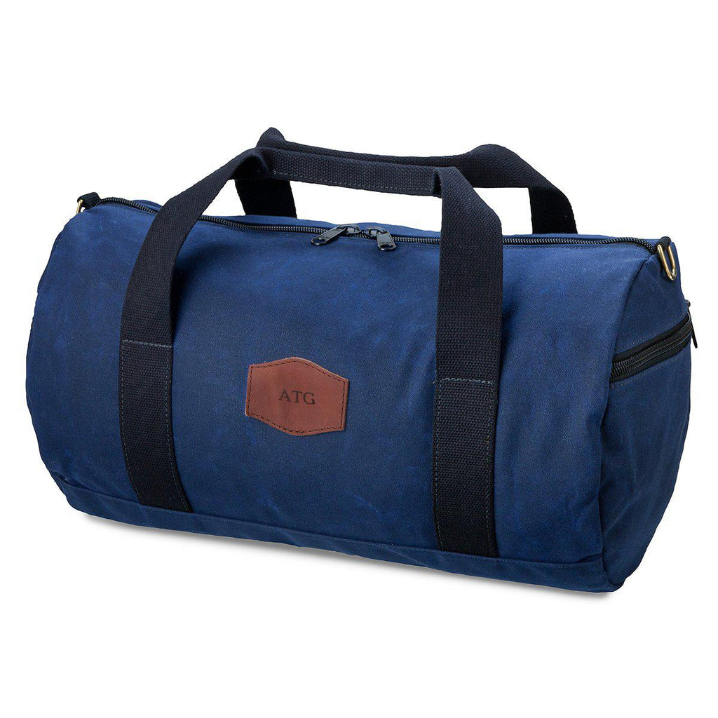 Duffle Bag for Groomsmen - Waxed Canvas-  Blue