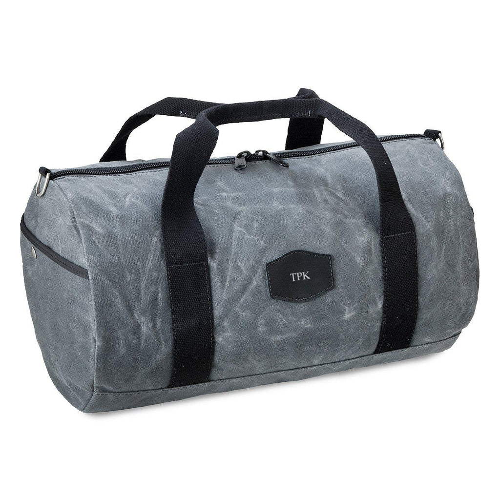 Personalized Waxed Canvas Groomsmen Duffle Bag - Charcoal