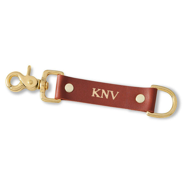 Personalized Leather Key Fob - Brown-Gold-