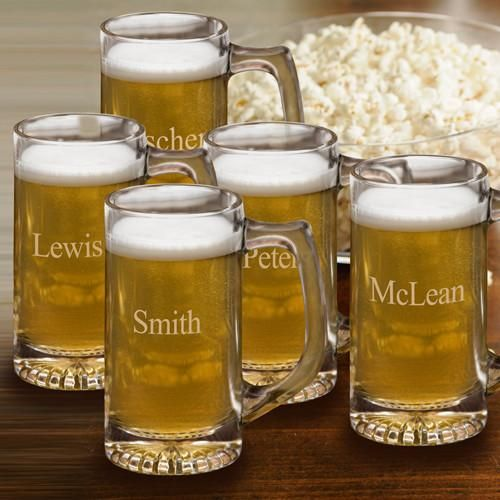 Engraved Set of 5 12 oz. Sports Mug for Groomsmen