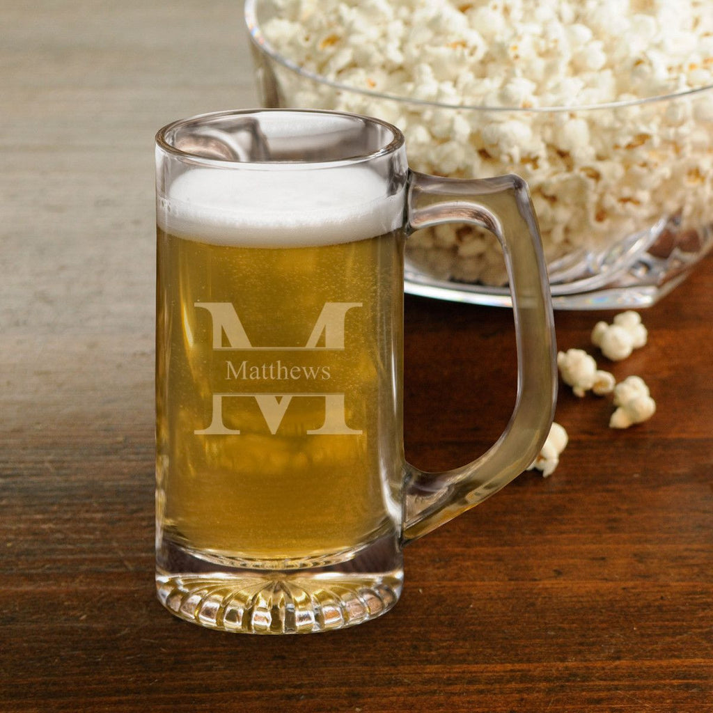 Personalized 12 oz. Sports Beer Mug for Groomsmen - Monogrammed Groomsmen Beer Mug - Custom Beer Mug