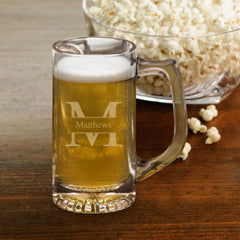 Personalized Beer Mugs - Sports Mug - Monogram - Groomsmen - 12 oz.-Stamped-