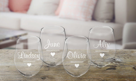 Personalized Bridal Party Stemless Wine Glass - Set of 4-Groomsmen Gifts