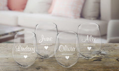 Personalized Bridal Party Stemless Wine Glass - Set of 4-
