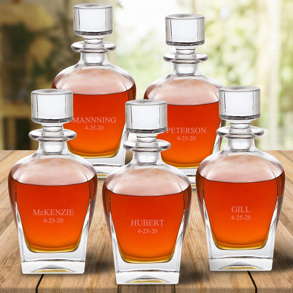 Set of 5 Personalized Antique Whiskey Decanters - 24 oz.