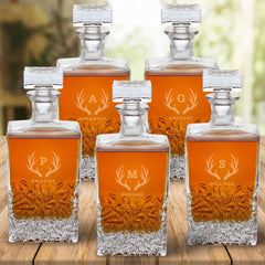 Personalized Kinsale Rectangular 24 oz. Whiskey Decanter - Set of 5-Antlers-