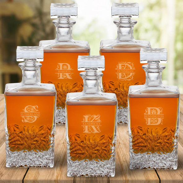 Personalized Kinsale Rectangular 24 oz. Whiskey Decanter - Set of 5-Filigree-