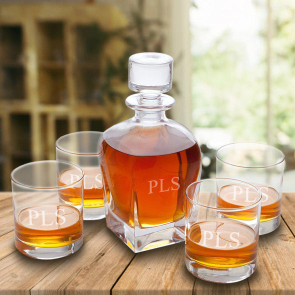 Personalized Antique 24 oz. Whiskey Decanter - Set of 4 Lowball Glasses-3Initials-