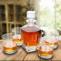 Personalized Antique 24 oz. Whiskey Decanter - Set of 4 Lowball Glasses-Modern-