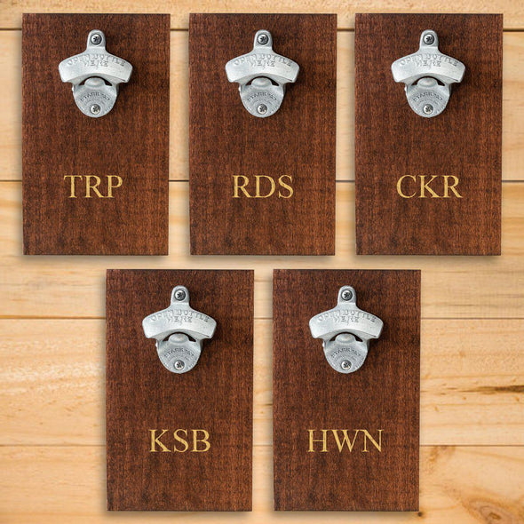 Personalized Wood Plank Wall Bottle Opener - Set of 5-3Initials-