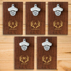Personalized Wood Plank Wall Bottle Opener - Set of 5-Antlers-