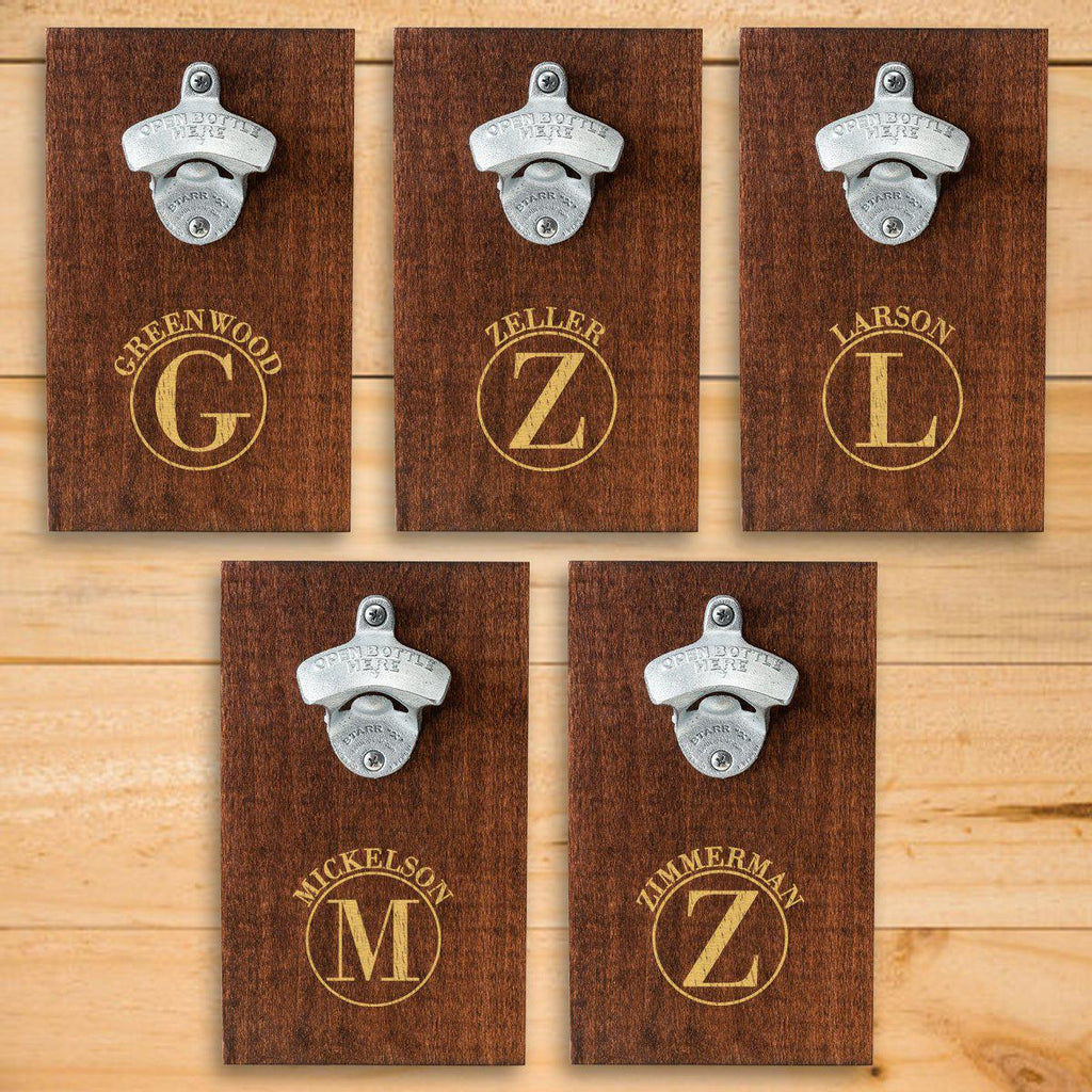 Personalized Wood Plank Wall Bottle Opener - Set of 5
